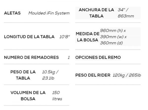 Tabla de sup red paddle co ride 10.8 20 specs 2
