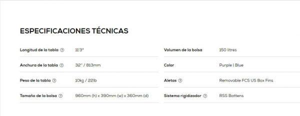 Tabla red paddel co sport 11.3 2021 specs