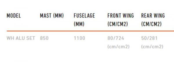 foil de windsurf RRD alu flight 2 specs