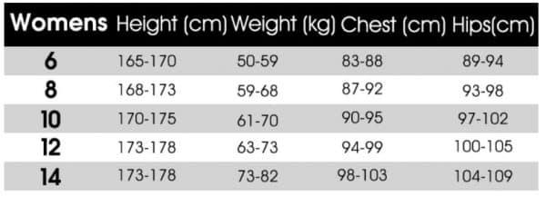 Roxy sizes chart wetsuits women
